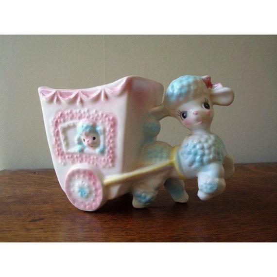 Vintage Poodle Pulling a Wagon Floral Arrangement Vase or Planter - Baby Shower Arrangement Vase