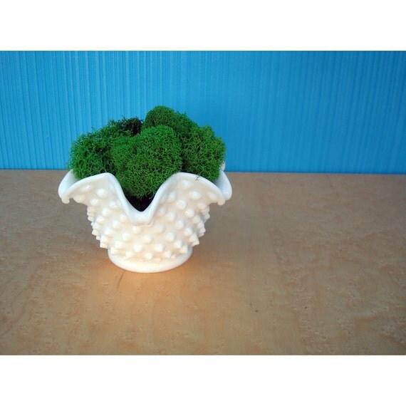 Fenton Milk Glass Hobnailed Sea Anemone Vase - Air Fern - Toothpick Holder - Mint Tray - Moss Planter