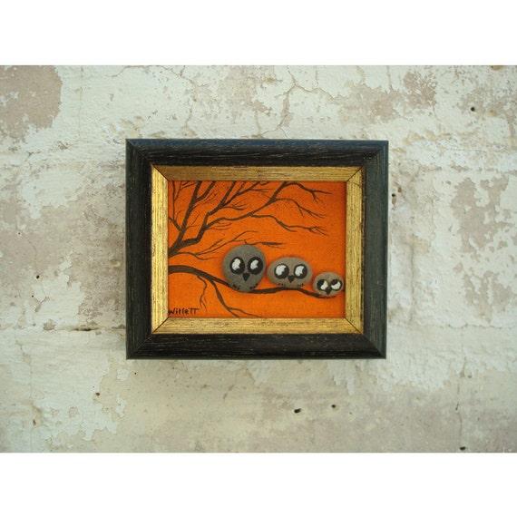 Rock Owls in a Tree - Small Wall Art - Halloween
