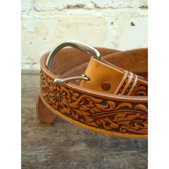 Pennys Ranch Craft Hand Tooled leather Belt - Size 34
