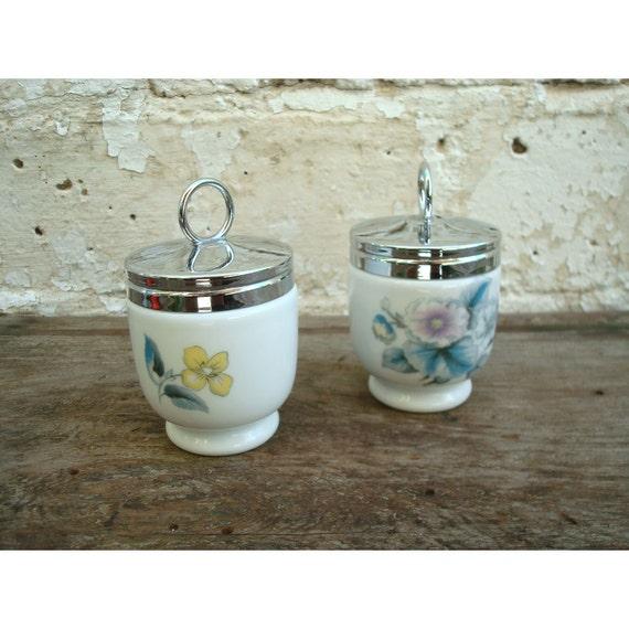 Set of Vintage Porcelain Egg Coddlers by Royal Worcester - Made in England