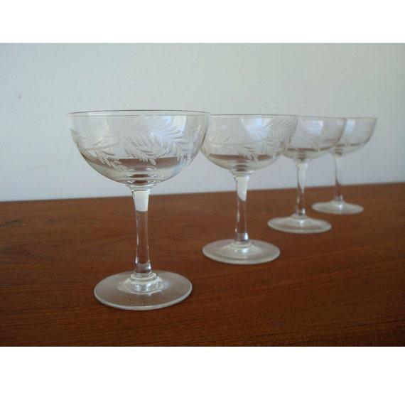1930s Mini Champagne Glasses - Set of 7 Etched Glasses
