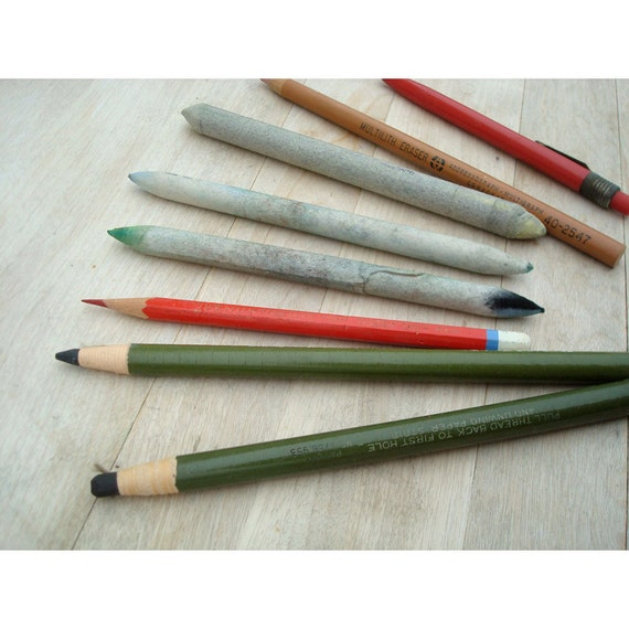 Vintage Drawing Pencils Charcoal and Stumps