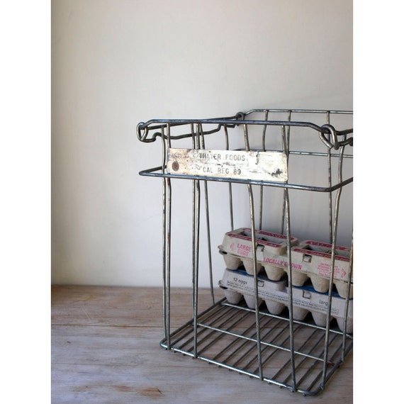 Reserved for Kimberly - Metal Dairy Crate - Food Crate -
