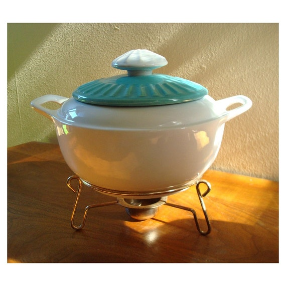 Vintage Casserole Dish with Lid and Warming Stand - USA