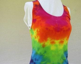 Bright Fractal Rainbow Vee Tiedye Tank Top