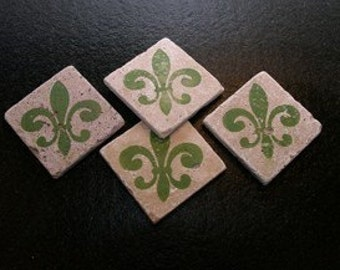 Set of 4 Marble Drink Coasters...Green Fleur de Lis