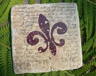 Marble Tile Trivet...Fleur de lis