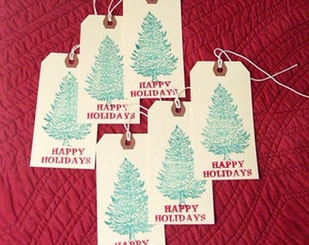 Set of 6 Christmas Tree Holiday Gift Tags