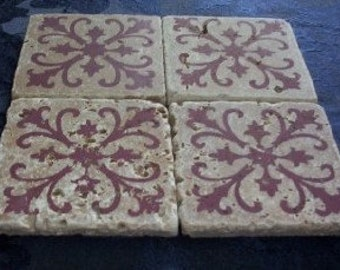 Set of 4 Marble Drink Coasters...Burgundy Iron Grates
