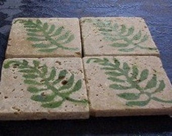 Set of 4 Marble Drink Coasters...Green Fern Fronds
