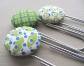 Spring Green- GIANT Geometric Fabric Covered Button Paper Keepers