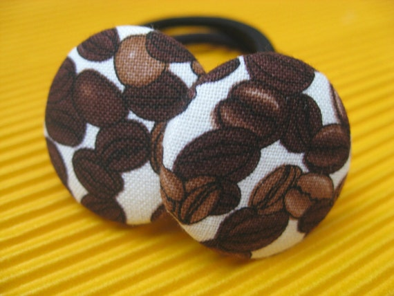 NEW- Coffee Break- Fresh Roasted Coffee Bean Ponytail Holders