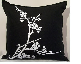 Black and White Cherry Blossom Screenprinted Pillow Cover - 18 inch x 18 inch