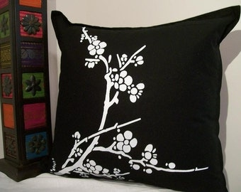 Black and White Cherry Blossom Screenprinted Pillow Cover - 18 x 18 inch, cherry blossom pillow, hand printed pillow, black pillow, square