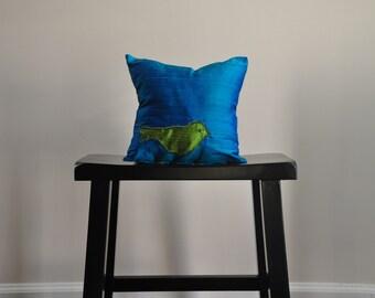 GREEN BIRD on Blue Silk - mini pillow 10 inch square
