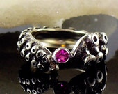 SALE - Tentacle Ring, Engagement Ring, Wedding Band, Sterling Ring, Silver Octopus, - OctopusME Ruby Ring