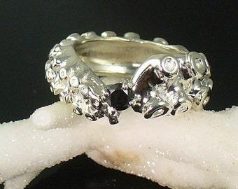Octopus Ring, Tentacle Ring, Engagement Ring, Wedding Band, Cthulhu, Black Diamond Prong Set Tentacle Ring