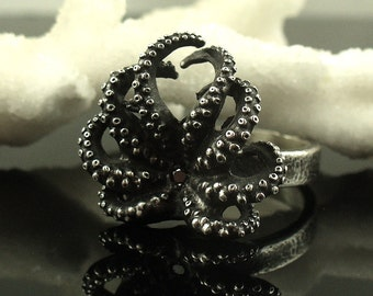 SALE - Black Diamond Octopus Ring, Octopus ring, tentacle ring, Octopus Jewelry, wedding band, engagement ring, steampunk jewelry, sterling