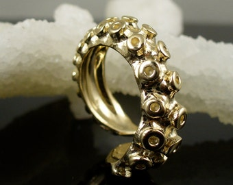 14K Yellow Gold Tentacle Ring, Engagement ring, Wedding Band, Octopus Jewelry
