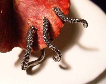 Octopus Earrings, Tentacle Earrings, Octopus Jewelry, Tentacle Jewelry - Small Trio - Octopus Tentacle Earrings,
