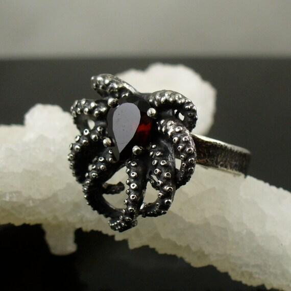 Blood Garnet Baby Octopus Ring, Tentacle Ring, Octopus Jewelry, Tentacle Jewellery, OctopusME, handmade