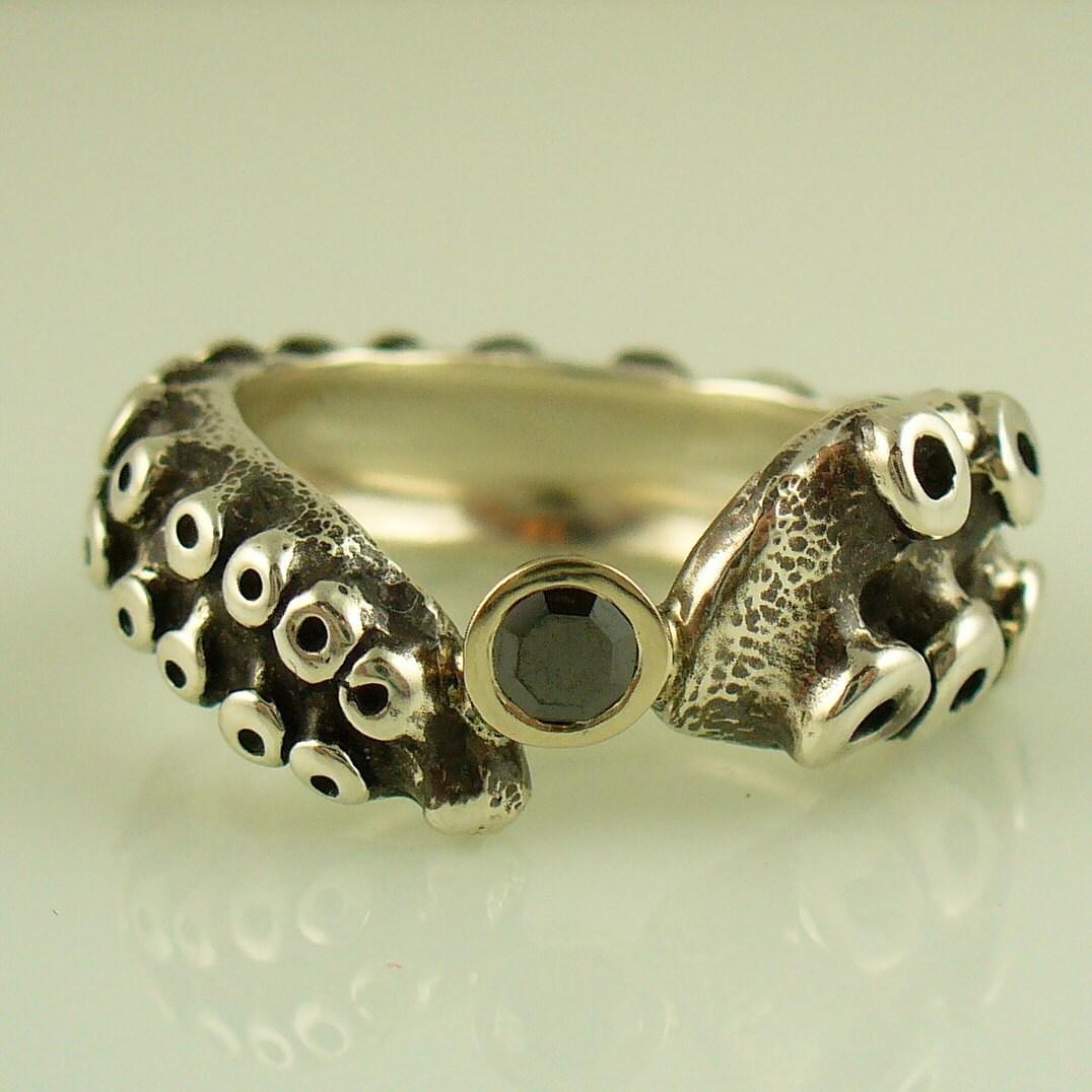 SALE Black Diamond Engagement Ring by OctopusME