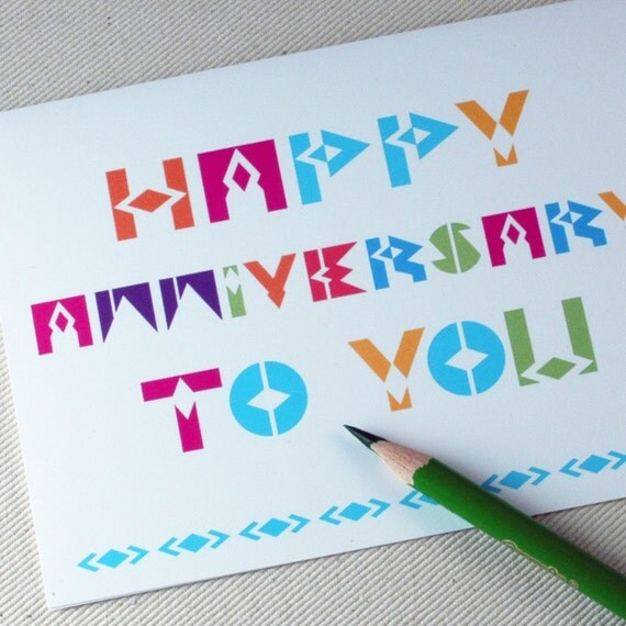 Anniversary Card - Happy Anniversary To You Greeting Card by Oh Geez Design
