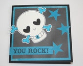 Rockin' Blue and Black Skull and Star Card