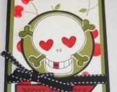 Rockabilly Cherries Skull Card