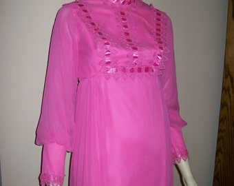 Neon Hot Pink 60s 70s Gown size 7 or XS