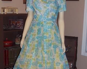 Jean Lang Original 50s blue flower dress Full Skirt Swing ,Excellent condition size Med / Large