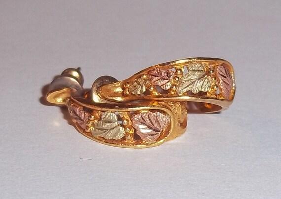 10k Tri-color Black Hills Gold Hoop  Earrings Pierced