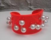 Bright Orange Perspex Acrylic Cuff Bracelet w Faux Pearls