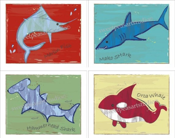 Ocean Sea Animals Art Prints for Kids Surf Bedding Wall Decor