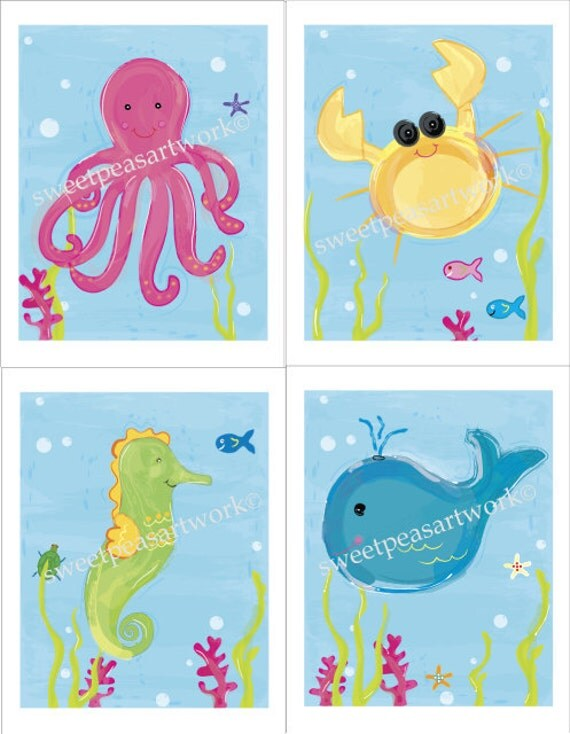 Ocean Sea Life Art Prints for Kids by sweetpeasartstudio2 on Etsy