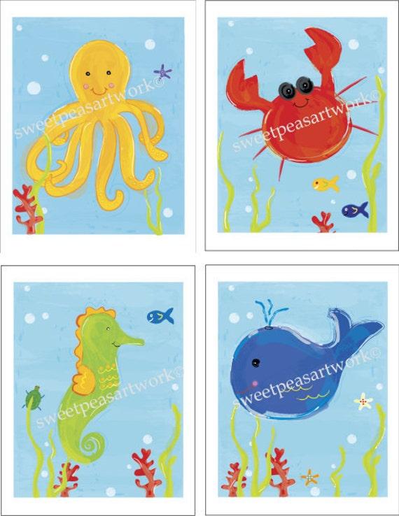 Ocean Sea Life Art Prints for Kids Underwater Bath or Bedding Decor