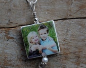 Large Clay Tile Photo Pendant with Sterling Silver Accents