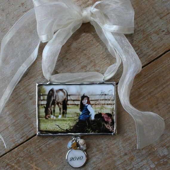 Custom Photo Ornament with personalized charm