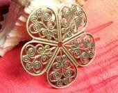 Closeout Antique brass flower wrap dangle 36mm in diameter, 10 pcs  (item ID ABFFW35)