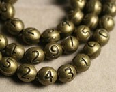 Antique brass number beads 0 to 9, size 7x6mm oval, pick your choice, 30 pcs (item ID YW3DABNumber)
