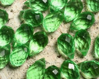 Green quartz faceted teardrop 12x8mm, 2 pcs (item ID L0206GQFT12)