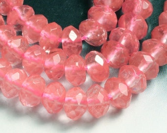 Cherry quartz faceted rondelle 6mm, 16 pcs (item ID L10CQFRN6)