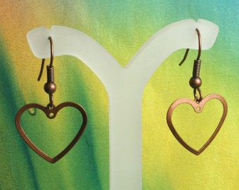 SALE Antique copper heart dangle 16x16mm, 16 pcs (item ID ACHD16x15)