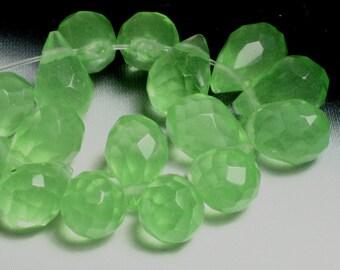 Green quartz faceted teardrop briolette 9x6mm, 8 pcs (item ID GZGQFT9x6)