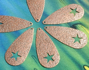 Closeout Antique copper dangle with star 34x15mm, 8 pcs (item ID ACDS34x15)