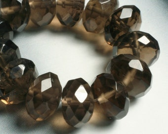 Smoky quartz faceted rondelle 8mm, 8 pcs (item ID L05SQFRN9)
