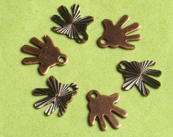 Closeout SALE Antique copper hand charm 8x8mm,  48 pcs (item ID ACHC8x8)