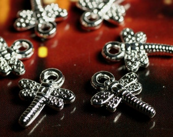 Closeout SALE Silver plated 3D charm dragonfly, 30 pcs  (item ID SPCDF)