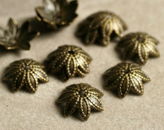 Antique brass bead cap 8mm, 24 pcs (item ID YWABXH00436)